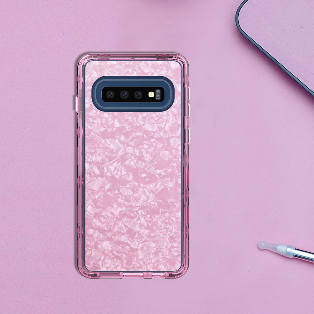 Galaxy S10 Plus Rugged Clear Case, Crystal Heavy Duty Protection with Built-in Screen Protector Shockproof Slim Dropproof Fit Cover Case Shell for Samsung Galaxy S10 Plus (Pink)