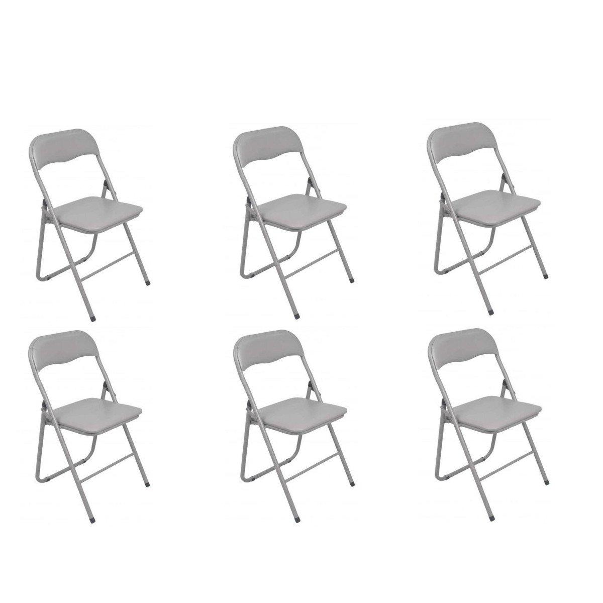 Atmosphé ra Lot de 6 chaises Pliantes Grise Atmosphéra