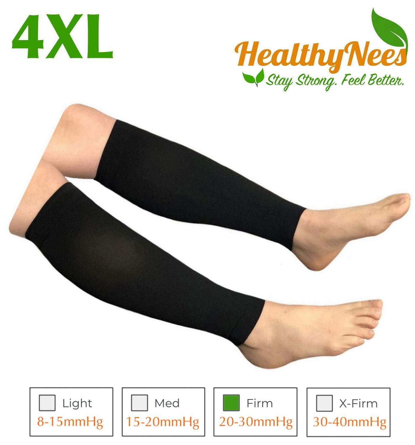 HealthyNees Shin Calf Sleeve 20-30 mmHg Medical Compression Circulation Extra Wide Plus Size Big Tall Leg Thick Calves Firm Support (Black, Wide Calf 4XL) by HealthyNees