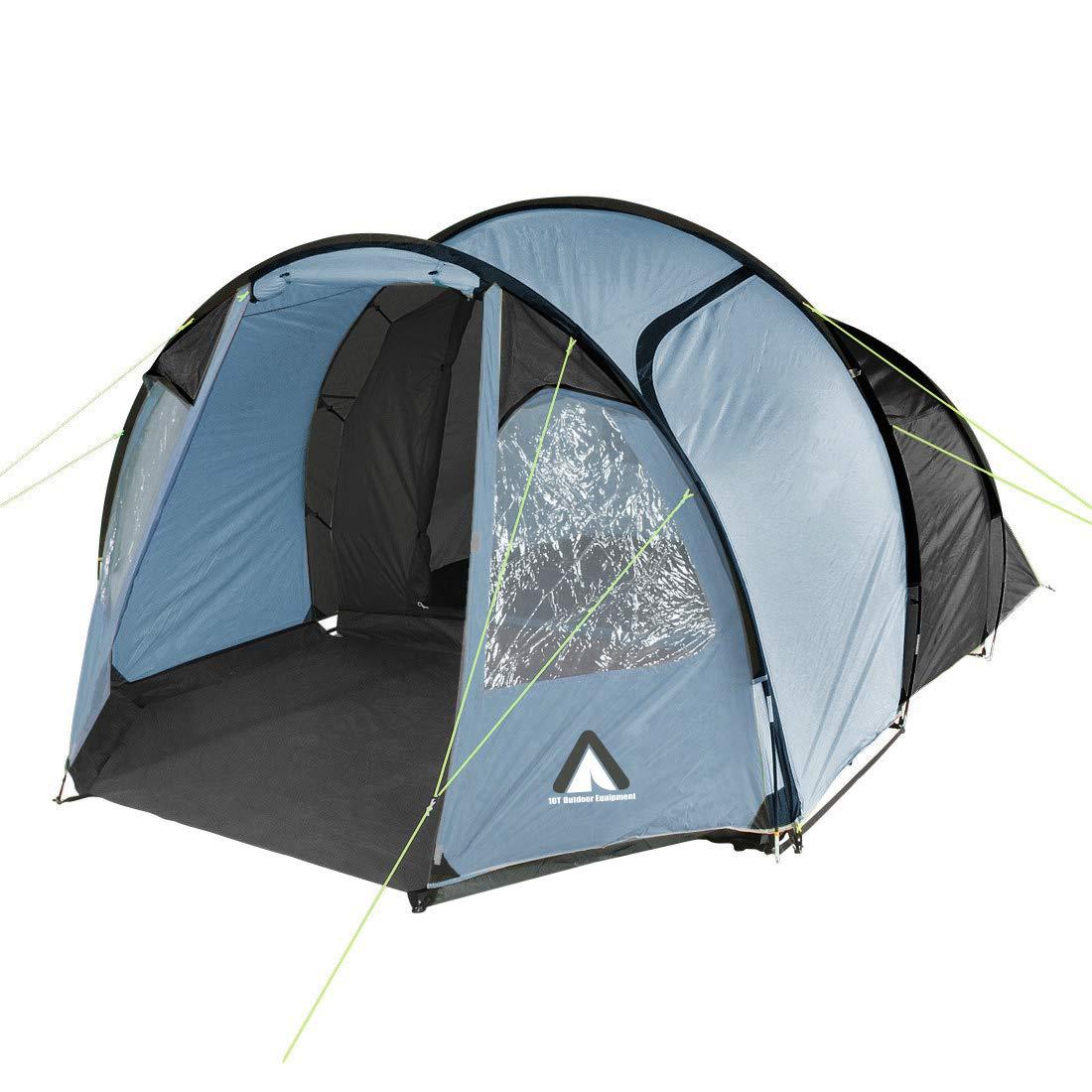 10T Mandiga 4 Arona - Tunnelzelt für 4 Personen, Campingzelt mit großer Schlafkabine, wasserdichtes Familienzelt mit 5000mm, Zelt mit 2 Eingängen und 2 Fenstern, Festivalzelt mit Dauerbelüftung, 4 Mann Zelt mit Tragetasche, Zelthering