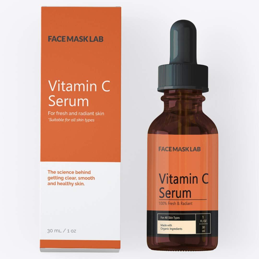 Face Mask Lab - Vitamin C Serum for All Skin Types – Hyaluronic Acid – Vitamin E – Organic Aloe – 1oz / 30ml