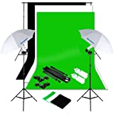 Excelvan Photography Lighting Kit 10x6.5FT 1250W Daylight Umbrella and Backdrop Support Stand and 3 Background 9x6FT, White Black Green