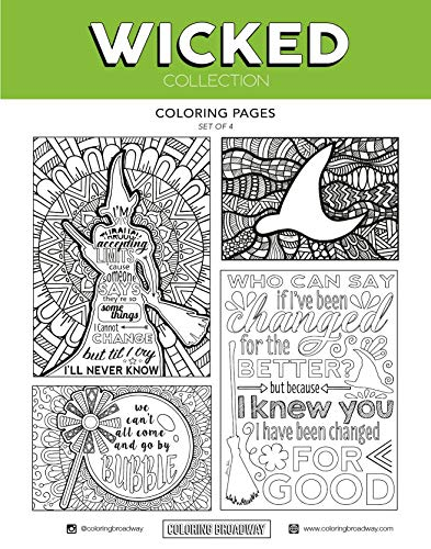 Wicked Coloring Set - 3 Pack (4 Postcards, 4 Pages and 4 Note Cards - 12 total). Hand drawn illustrations by Coloring Broadway. Printed on matte card stock. Postcards & Note Cards are 5
