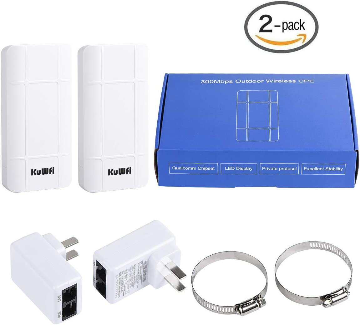 Portable Wireless WiFi Router Waterproof Easy Setup Point to Point 1 KM Long Distance Transmission Wireless Bridge Kit for PC//Laptop