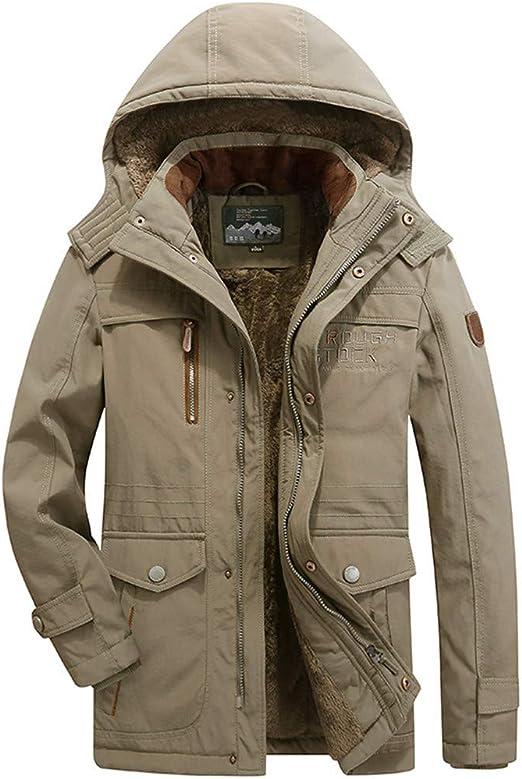 Mens Long Sleeve Hoodies Jacket Males Zipper Multi-Pocket Winter Plus Size Solid Velvet Thick Overcoat Coat Tops