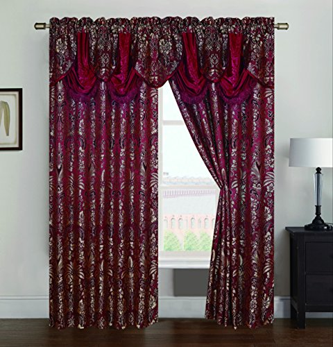 RT Designers Collection Gina Jacquard 54 x 84 in. Rod Pocket Curtain Panel w/Attached 18 in. Valance, Burgundy