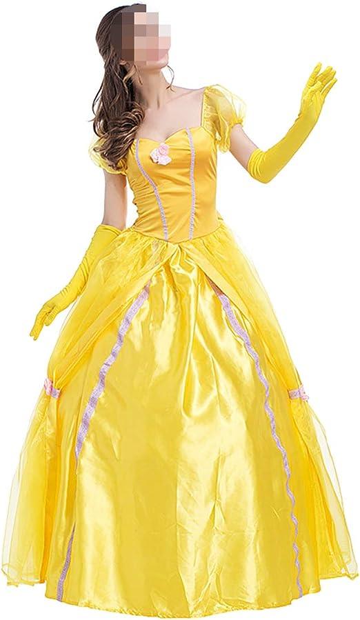 YKJ Halloween Princesa Falda Hada Amarillo Femenino Retro Europeo ...