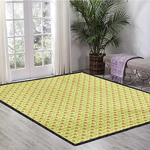 Spring, Area Rug Non Slip, Flourishing Roses with Leaves on Striped Pastel Green Background, Door Mats for Inside 5x8 Ft Dark Coral Pistachio - Coral Green Pistachio