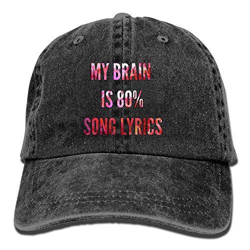My Brain Is 80% Song Lyrics Vintage Washed Dyed Cotton Twill Low Profile Adjustable Baseball Cap Black