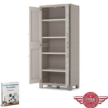 Waterproof Storage Cupboard Living Room Kitchen Bedroom Balcony Bathroom  Wall Furniture Doors Adjustable Shelves Cabinet Home