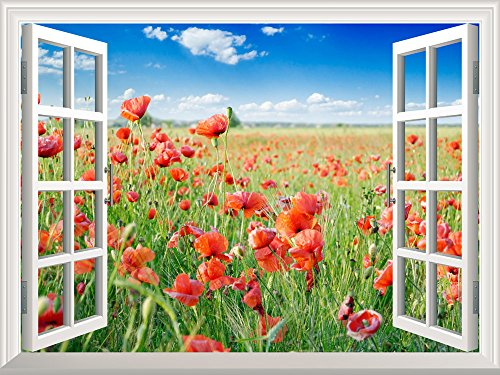 Removable Wall Sticker Wall Mural Beautiful Poppy Field in the Spring Creative Window View Wall Decor