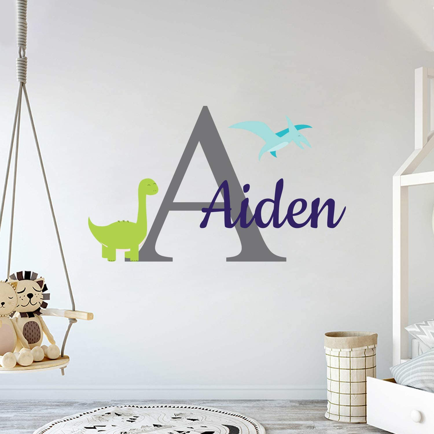 Multiple Font Custom Name & Initial Dinosaurs Animal Series - Baby Boy - Nursery Wall Decal for Baby Room Decorations - Mural Wall Decal Sticker for Home Children's Bedroom (MM103V2)