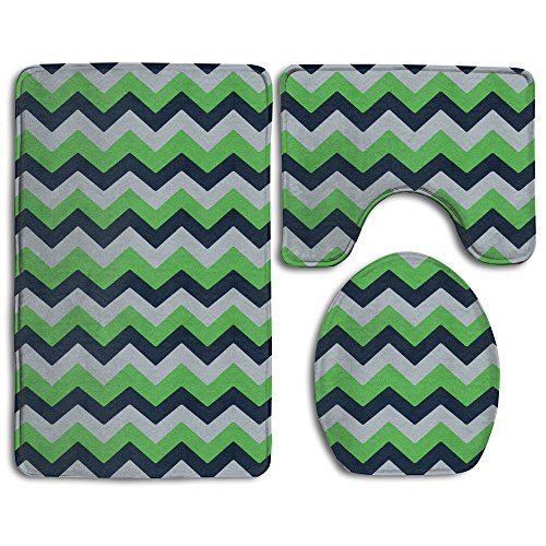 Seattle Seahawks Chevron 3 Piece Bath Mat Toilet Rug Set Non Slip Bathroom Mats Contour Rug Toilet Lid Cover