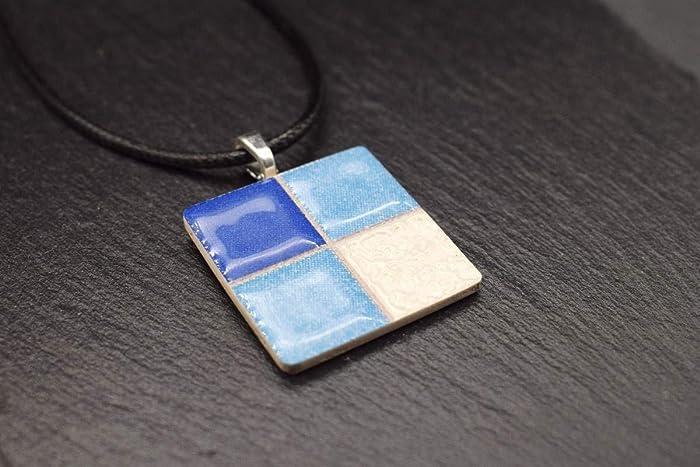 43004d707395 Joyeria de cerámica para mujer Cadena en blanco azul Bisuteria Collar  artesanal handmade con colgante