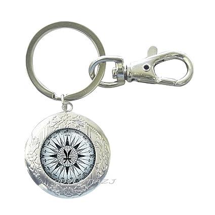Piscis, brújula con medallón del zodiaco, llavero, medallón ...