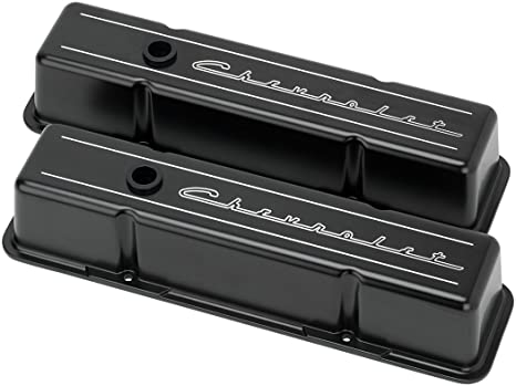 New Billet Specialties Script Satin Black Powder Coated Aluminum Tall Valve Cover Set For Chevrolet Fits Small Block Chevy With Metal Baffles Rubber