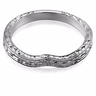 Amazon.com: Curved Vintage Style Engraved 14K White Gold Wedding ...
