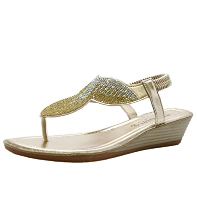 ccedf05363e Ladies Womens Low Wedge Diamante Summer Party Comfy Toe Post Sandals Shoes  Size 3-8  Amazon.co.uk  Shoes   Bags