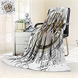Plush Throw Duplex printed blanket Super soft and CozyClock An Alarm Clock with Clouds and Buildings Around It Pattern Decorative Design Light Grey blanket Perfect for Couch Sofa/W47 x H31.5