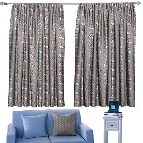 ParadiseDecor Animals Curtain Rods Cute Cartoon Bunny and Blooming Roses Pattern Fauna and Flora Design,Backout Draperies for Bedroom,W55 x L39 Inch