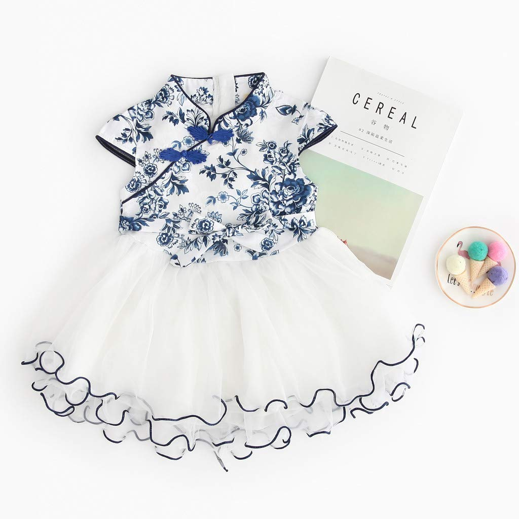 2019 Baby Girls Princess Lace Dress Toddler Kids Embroidery Cheongsam Party Dresses Tulle Tutu 1-5T (4-5 Years, Blue) by Dasuy (Image #2)