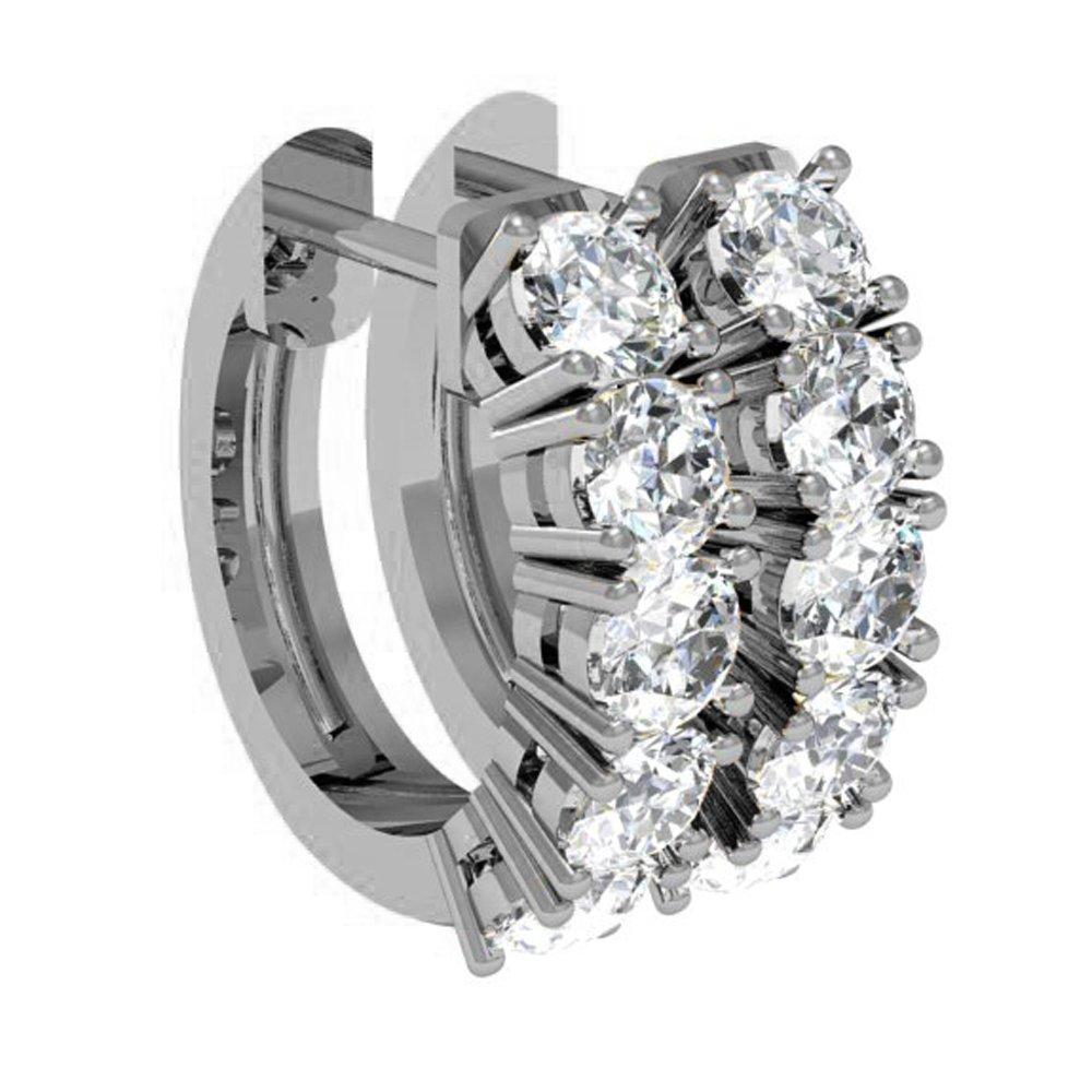 0.50 Carat ctw 10K Gold Real Round Cut White Diamond Ladies Huggies Hoop Earrings