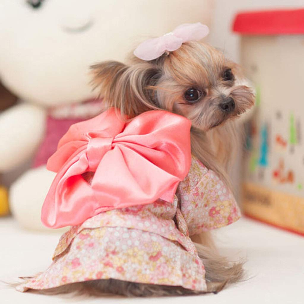 Cherry powder S Cherry powder S PLDDY Pet Clothes, Dog Clothes Floral Kimono Small Dogs Spring and Autumn Pet Supplies (color   Cherry Powder, Size   S)