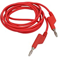 uxcell Banana Connector Cable Jumper Silicone Wire Test Lead 2M Length Red