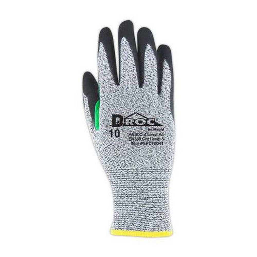 Glove & Safety GPD780RT-11 D-ROC GPD780RT NitriX Palm Coated Work Glove with Reinforced Thumb Saddle, Cut Level A4, 11'', Grey/Black (Pack of 12)