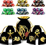 ENTOY Dnd Dice Set Dungeons and Dragons Dice Set for D&D Dice Games RPG MTG Table Games With Drawstring Bag (Double Color, 6 Sets)