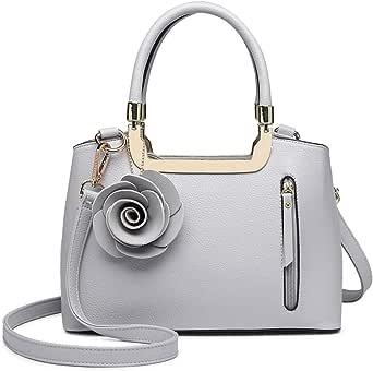 MISS LULU Women Elegant handbag PU Leather Rose Flower Charm Structured Crossbody Bag, Grey