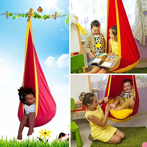 TOPmountain Indoor/Outdoor Kid's Hang Hammock Swing Chair Bed Children Baby Seat Nook Tent