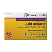Primary Health Acid Reducer Esomeprazole Magnesium 20mg Delayed-Release Capsules, 42Count