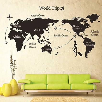 removable diy world trip map art wall decor sticker decal mural