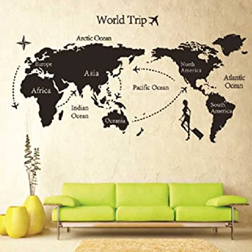 Bon Removable DIY World Trip Map Art Wall Decor Sticker Decal Mural