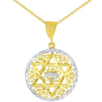 Amazon Solid 14k Yellow Gold Round Filigree Star Of David With
