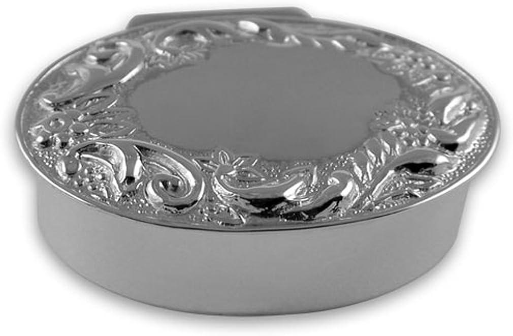 スターリングシルバーの卵形の花輪のピルケース