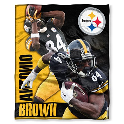 "The Northwest Company Officially Licensed NFL Pittsburgh Steelers Antonio Brown Silk Touch Throw Blanket, 50"" x 60"", Black"