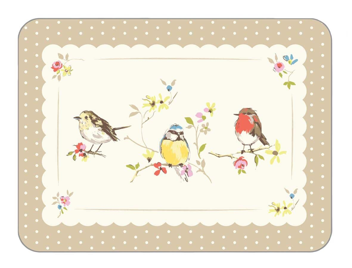 LUXURY BRIGHT COUNTRY ROBIN BIRDS POLKA DOTS 4 X PLACEMATS CORK BACKED Birds Unique