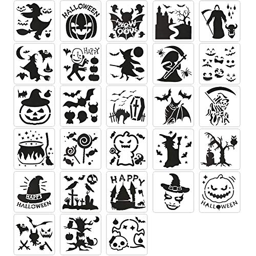 Koogel 28 PCS Halloween Stencils, 5 inch Halloween Templates Halloween Pumpkin Stencils Plastic Halloween Stencils for DIY Card Craft Art Drawing Painting Spraying Window Glass Wood Airbrush Walls Art
