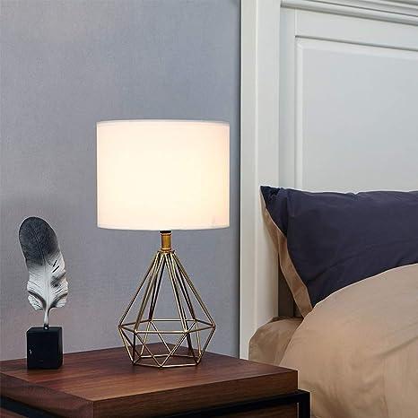 MMRLY Lámpara de Mesa Moderna con Tela Blanca Pantalla de