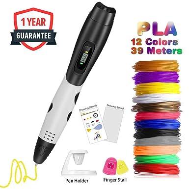 Pluma 3D Fede, Lápiz 3D con 12 * 3.3M filamento PLA 1.75mm multicolores (39.6 metros en total), Boligrafo 3D con Pantalla LCD para Impresión 3D para Niños y Adultos: Amazon.es: Industria, empresas