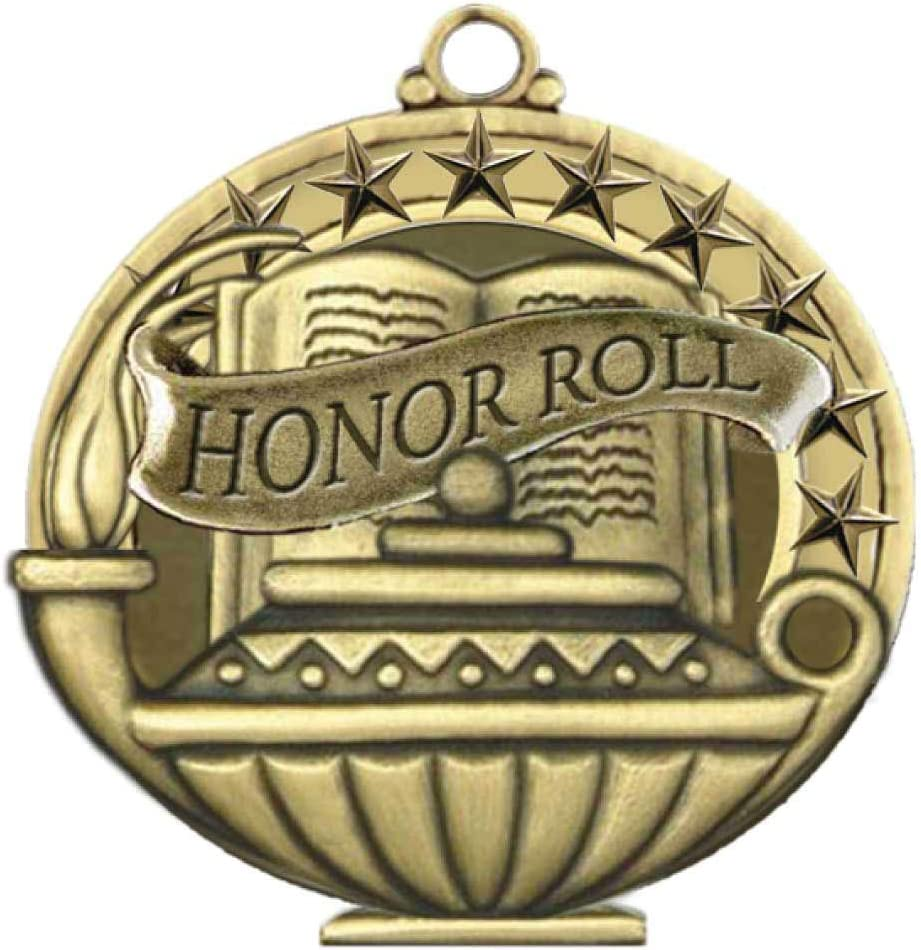Gold Honor Roll Medals 1st Place Winner Student School Award Trophy with Neck Ribbons Home Scholastic Pack of 3