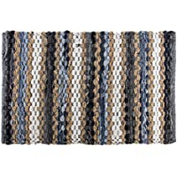 Chindi 2x3' Variegated Area Rag Rug Recycled Blue Cotton Denim Jute Woven Fabric