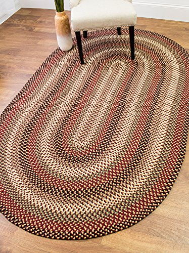 Colonial Red Area Rug, Braided Textured Design, 3Ft. X 5Ft. Oval Reversible, Washable Carpet