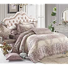 Duvet Cover Set, Dusty Pink and Light Yellow Paisley Damask Victorian Pattern Printed, Soft Microfiber Bedding with Zipper Closure (3pcs, King Size)