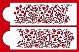 Designer Stencils C472 Gilded Floral Cake Stencil Set, Beige/semi-transparent
