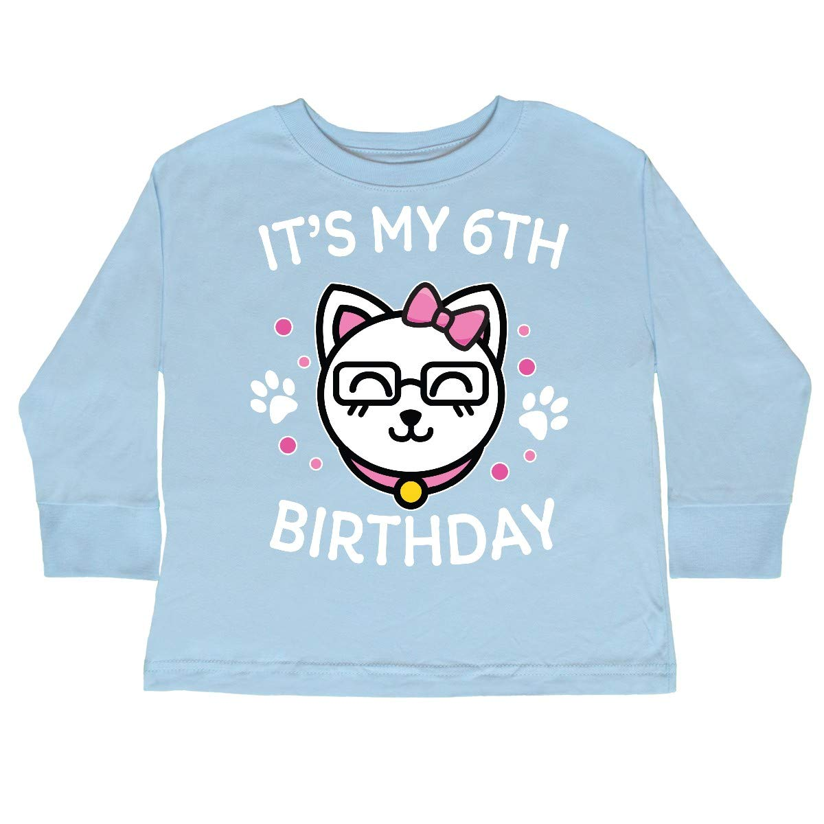 inktastic Its My 6th Birthday with Cat in Glasses Toddler Long Sleeve T-Shirt