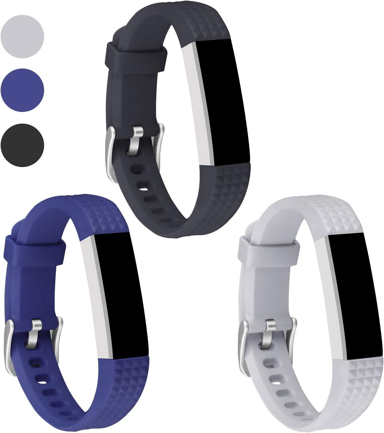 3-Pack Silicone Sport Smart Fitness Tracker Wristband with Metal Buckle for Women Men Kids UMAXGET Compatible with Fitbit Alta//Alta Hr//Fitbit Ace Bands