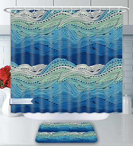 Aoreeo Bathroom Two-Piece Set Aquatic Conceptual Ocean Themed Artwork Hand Drawn Waves Seascape Maritime Blue Light Blue Mint Green Shower Curtain And Bath Rug Set, 71